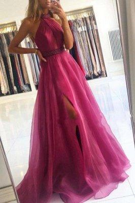 Gorgeous Halter Fuchsia Split Prom Dresses Long_1