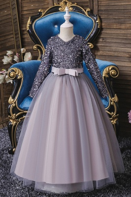 Princess Long Sleeves Ruby Sequins Flower Girls Dresses Ankle-Length_3