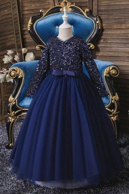 Princess Long Sleeves Ruby Sequins Flower Girls Dresses Ankle-Length_2