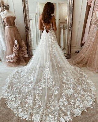 Elegant Spaghetti Straps White Long Wedding Dresses With Lace Appliques_2