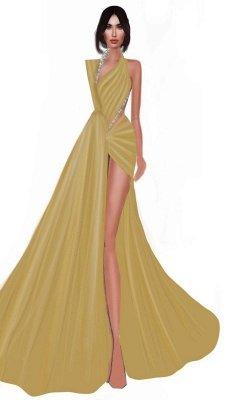 Shining V-Neck Side-Slit Mermaid Beaded Gold Prom Dresses_2