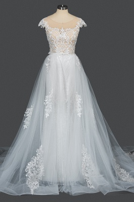 Sleeveless Tulle Lace Beading Sheath Wedding Dresses With Detachable Train_13