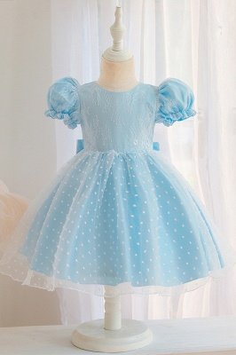 Princess Short Sleeves Jewel Flower Girls Dresses With Bowknot_3