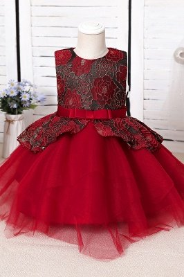 Cute Jewel Polyester Sleeveless Flower Girls Dresses With Bowknot_2