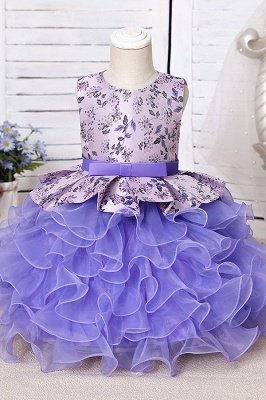 Jewel Sleeveless Print Flower Girls Dresses Ball Gown