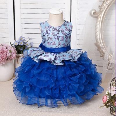 Jewel Sleeveless Print Flower Girls Dresses Ball Gown_3