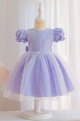 Princess Short Sleeves Jewel Flower Girls Dresses With Bowknot_4