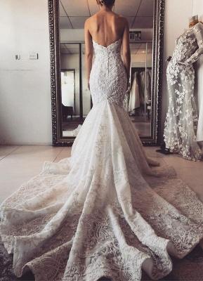 Elegant Sleeveless Sweetheart Mermaid Wedding Dresses With Lace_5