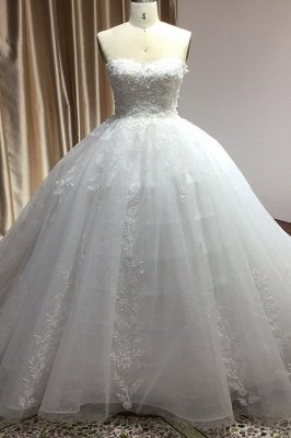 Elegant Strapless White Lace Wedding Dresses Floor-length