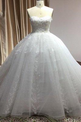 Elegant Strapless White Lace Wedding Dresses Floor-length