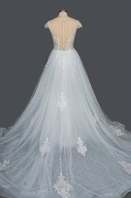 Sleeveless Tulle Lace Beading Sheath Wedding Dresses With Detachable Train_2