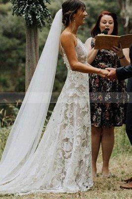 Simple Spaghetti Straps Floral Lace White Wedding Dresses_1