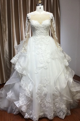 Long Sleeves Lace Ruffles Fairy Wedding Dresses Floor-length