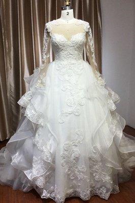 Long Sleeves Lace Ruffles Fairy Wedding Dresses Floor-length