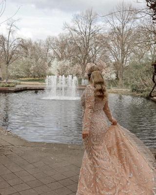 Elegant Long Sleeves Tulle Nude Pink Sequins Split Prom Dresses_3