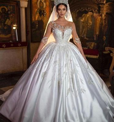Princess Satin Silver Crystal Wedding Dresses With Long Sleeves_2