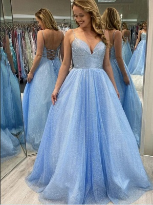 Glittery Spaghetti Straps Light Blue Lace Sequins Evening Dresses_1