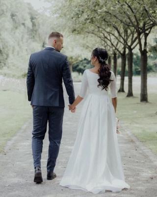 Elegant Jewel White Chiffon Ruffles Wedding Dresses With Half Sleeves_2