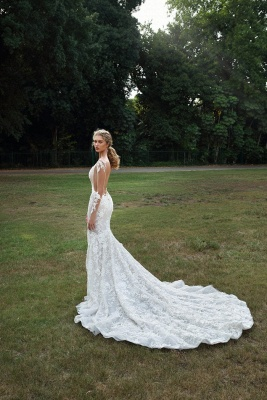 Graceful Backless Square Lace Mermaid Wedding Dresses With Long Sleeves_3