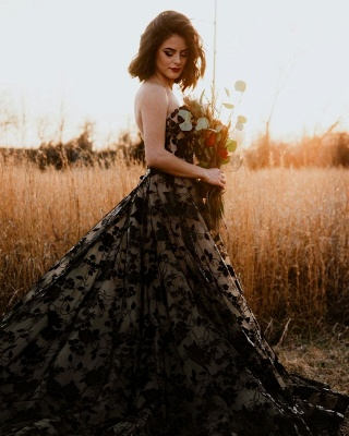 Chic Strapless Sweetheart Black Tulle Lace Wedding Dresses_3
