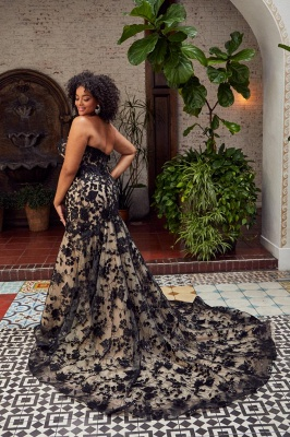 Sexy Strapless Tulle Sweetheart Black Lace Mermaid Wedding Dresses_2