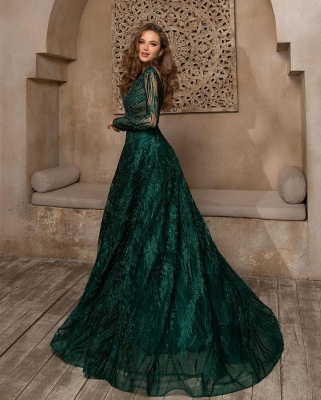 Elegant Jewel Jade Green Lace Ruffles Prom Dresses With Long Sleeves_2