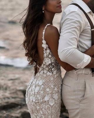 Elegant Spaghetti Straps White Tulle Mermaid Wedding Dresses With Lace_6