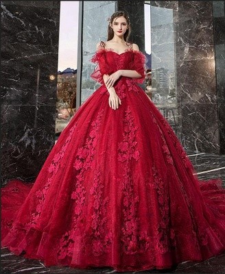 Luxury Off The Shoulder Tulle Ruby Appliques Ball Gown Evening Dresses Long_2