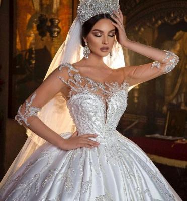 Princess Satin Silver Crystal Wedding Dresses With Long Sleeves_5
