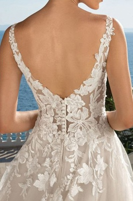 Floral V Neck Sleeveless Tulle Ivory Wedding Dresses With Appliques_4