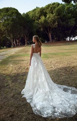 Floral Sleeveless V Neck Lace Appliques Wedding Dresses With Backless_2
