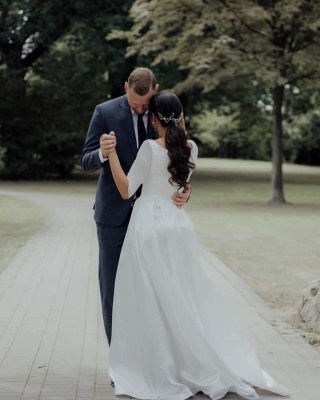 Elegant Jewel White Chiffon Ruffles Wedding Dresses With Half Sleeves_5