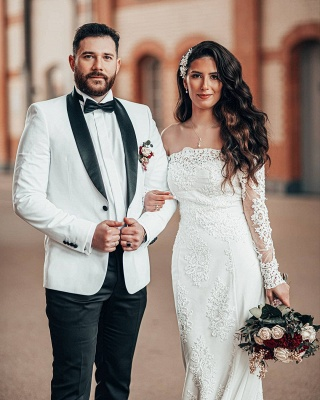 Elegant White Off The Shoulder Lace Satin Mermaid Wedding Dresses With Long Sleeves_4