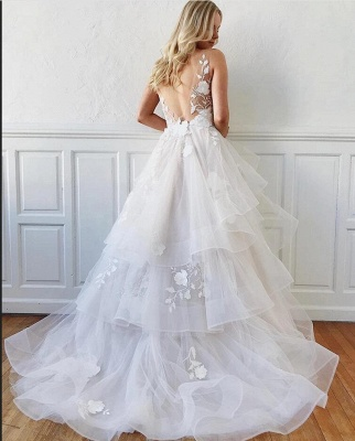 Sleeveless White Tulle Ruffles A-Line Wedding Dresses With Lace Appliques_2