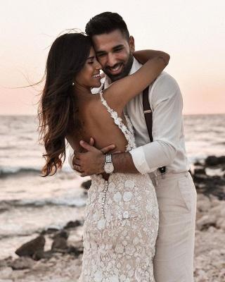 Elegant Spaghetti Straps White Tulle Mermaid Wedding Dresses With Lace_7