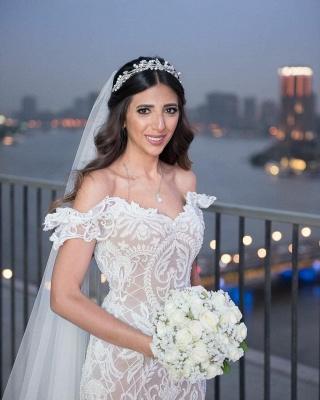 Elegant Off The Shoulder White Lace Appliques Mermaid Wedding Dresses_4