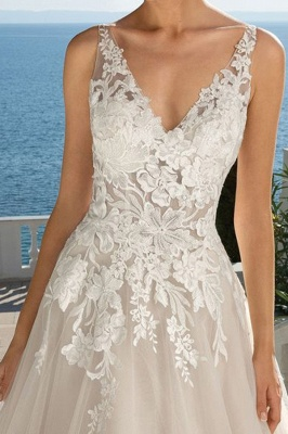 Floral V Neck Sleeveless Tulle Ivory Wedding Dresses With Appliques_3