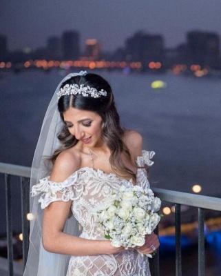 Elegant Off The Shoulder White Lace Appliques Mermaid Wedding Dresses_3
