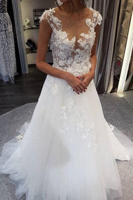 Elegant Jewel Sleeveless A-Line Wedding Dresses With  Appliques_3