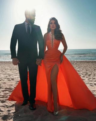 Vintage sleeveless Orange Ruffles Front-Split Mermaid Prom Dresses_4