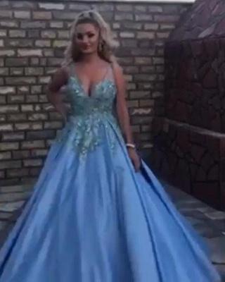 Luxury Sleeveless V Neck Satin Lake Blue Appliques Prom Dresses_2