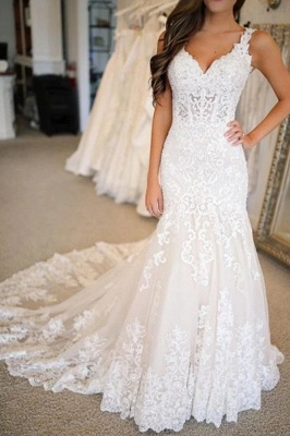 Sleeveless Sweetheart Tulle White Mermaid Wedding Dresses With Appliques_2
