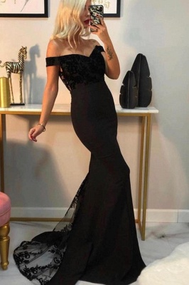 Luxury Off The Shoulder Black Chiffon Lace Mermaid Prom Dresses_1