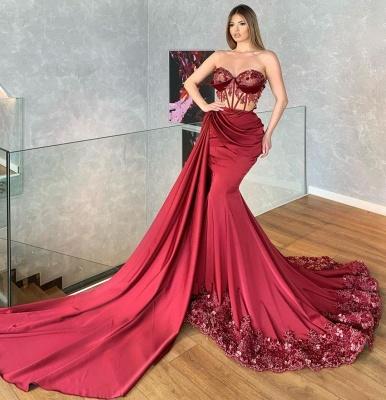 Luxury Strapless Ruby Ruffles Lace Mermaid Prom Dresses_2