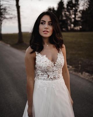 Spaghetti Straps Tulle Lace Appliques Wedding Dresses_4