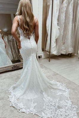 Women Sleeveless Square White Tulle Mermaid Wedding Dresses With  Appliques_2