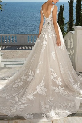 Floral V Neck Sleeveless Tulle Ivory Wedding Dresses With Appliques_2