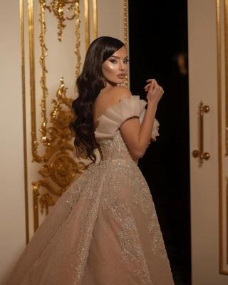 Elegant Off The Shoulder Sweetheart Flesh Color Wedding Dresses With Detachable Skirt_4