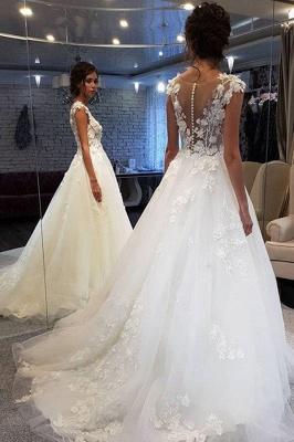 Elegant Jewel Sleeveless A-Line Wedding Dresses With  Appliques_2