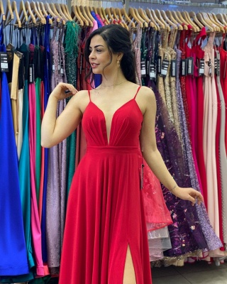 Sleek Sleeveless Ruby Chiffon Split Ruffles Sheath Prom Dresses_3